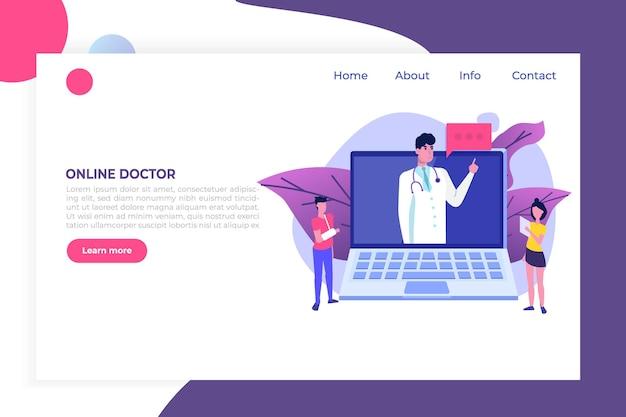 Service médical, écran de la page de l'application. concept de médecin en ligne.