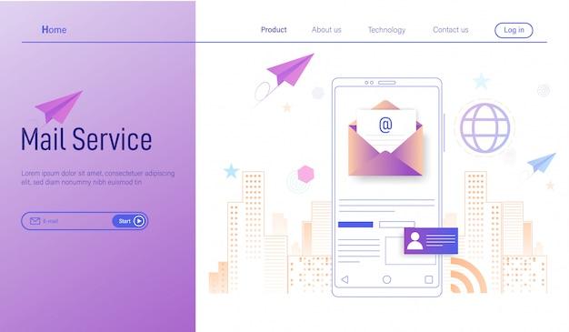 Service de messagerie mobile, marketing par courrier électronique professionnel, lettre d'information et courrier électronique