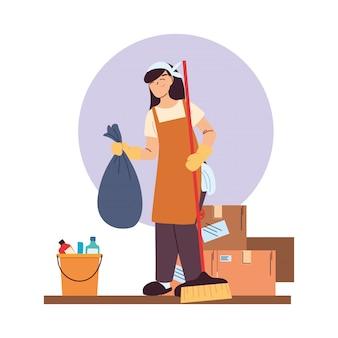 Service de nettoyage femme avec des gants, des ustensiles de nettoyage et des boîtes