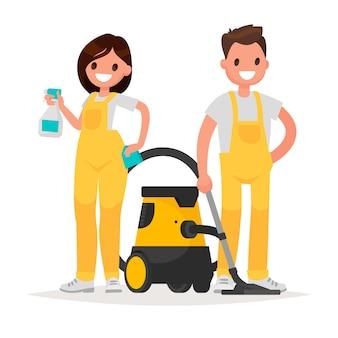 Service de nettoyage. homme et femme habillés en uniforme sur fond isolé.