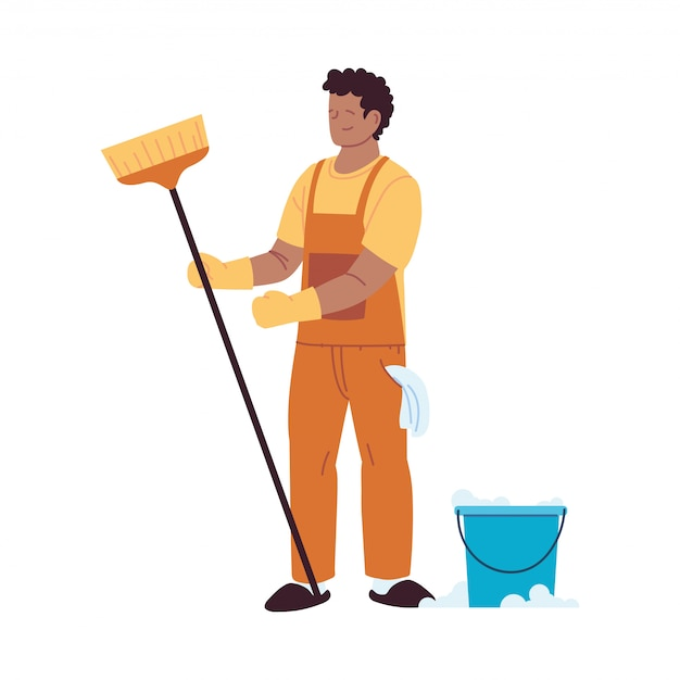 Service de nettoyage homme avec des gants et des ustensiles de nettoyage