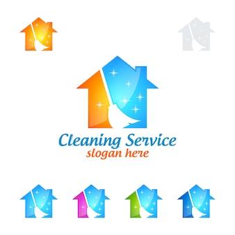 Service de nettoyage logo design avec maison et balai