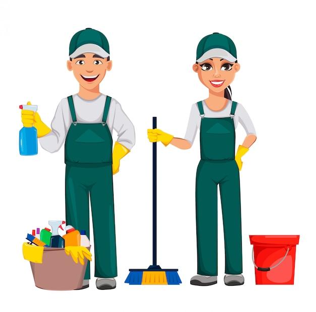 Service de nettoyage, personnage de dessin animé enthousiaste