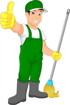 Service de nettoyage pouce en haut