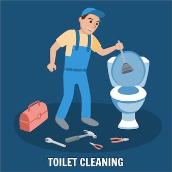 Service de nettoyage des toilettes