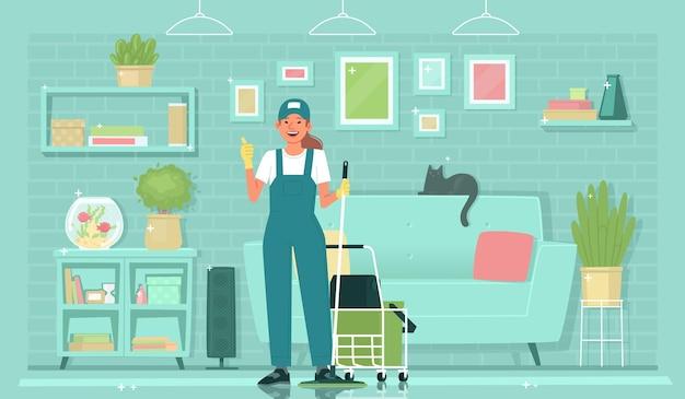 Service de nettoyage l'uniforme de concierge féminin montre un geste cool devant un résultat étincelant et propre