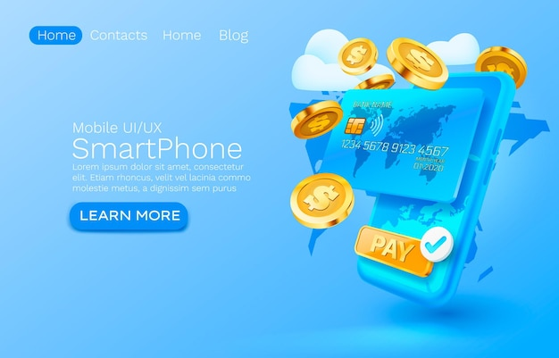 Service de paiement mobile paiement financier smartphone technologie d'écran mobile vecteur lumineux d'affichage mobile