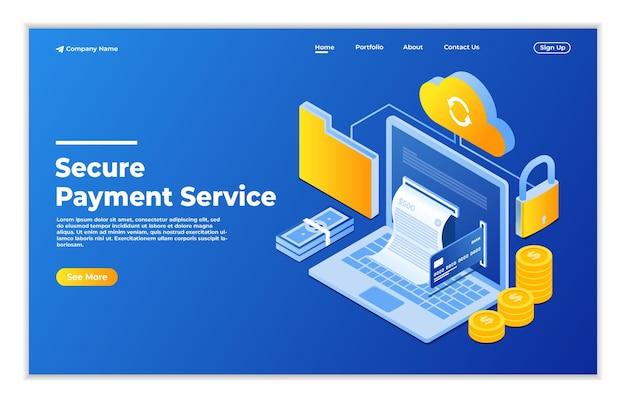 Service de paiement sécurisé en ligne avec concept isométrique de document