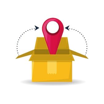 Service de paquet de boîte avec l'ubication au symbole de recherche