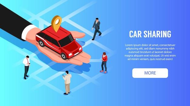 Service de partage de voiture en ligne 24h bannière horizontale web isométrique avec auto rouge dans la paume de la main