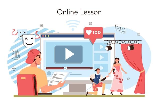 Service ou plate-forme en ligne de classe d'école d'art dramatique ou de club. les élèves jouent