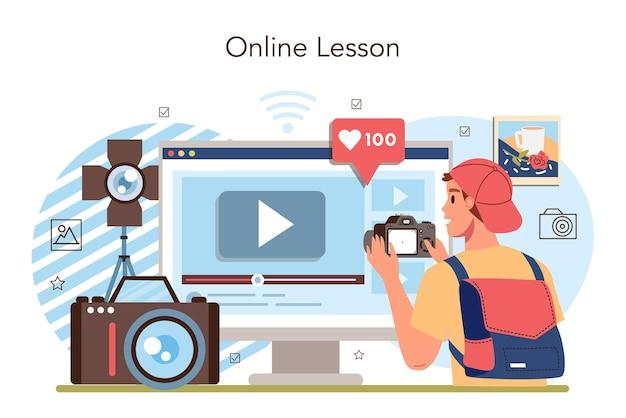 Service ou plate-forme en ligne de club ou de cours d'école de photographie