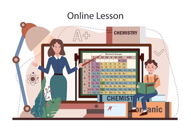 Service ou plate-forme en ligne de cours d'école de chimie. apprentissage des étudiants