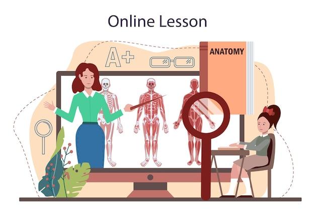 Service ou plate-forme en ligne de matière scolaire d'anatomie. humain interne