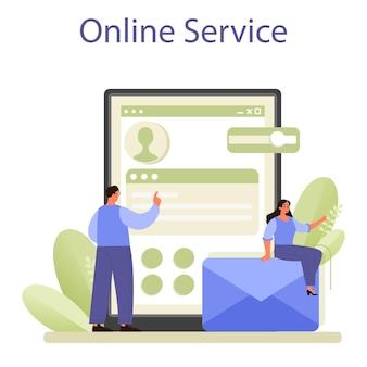 Service ou plate-forme en ligne de mise en réseau. collaboration des employés