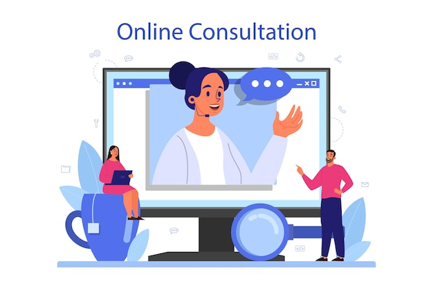 Service ou plateforme de consultation professionnelle en ligne. recherche et recommandation. idée de gestion de stratégie et de dépannage. consultation en ligne.