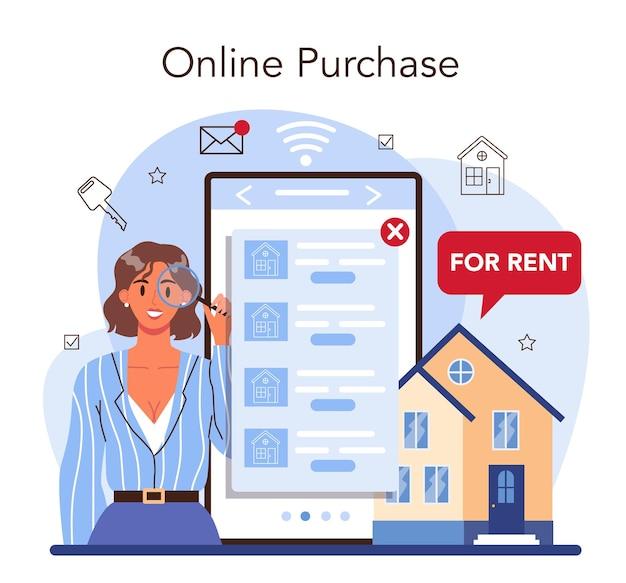 Service ou plateforme en ligne d'agence immobilière. l'agent immobilier ou le courtier aide le client à louer ou à louer une maison. achat en ligne. illustration vectorielle plane