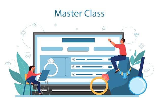 Service ou plateforme en ligne de bijoutier et joaillerie personne travaillant avec des pierres précieuses. master class en ligne. illustration vectorielle