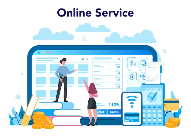 Service ou plateforme en ligne de caissier. service client, opération de paiement.