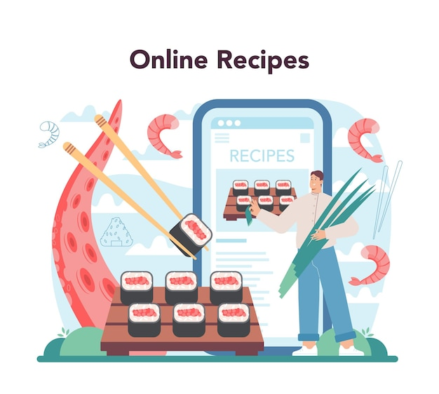 Service ou plateforme en ligne de chef de sushi