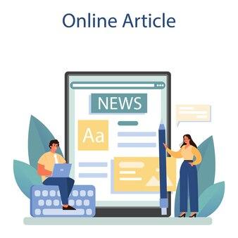 Service ou plateforme en ligne de communiqués de presse. illustration vectorielle plane isolée