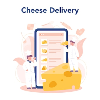 Service ou plateforme en ligne de concept de fromager