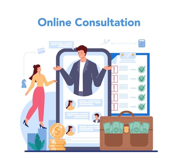 Service ou plateforme en ligne de conseiller financier ou financier.