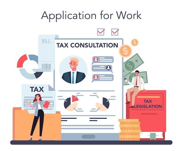 Service ou plateforme en ligne de conseiller fiscal.
