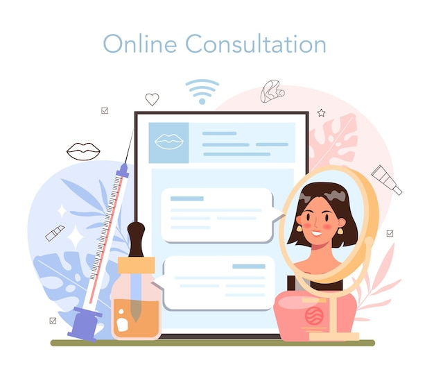 Service ou plateforme en ligne de cosmétologue. procédure de soins de la peau