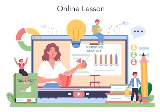 Service ou plateforme en ligne de cours d'éducation marketing