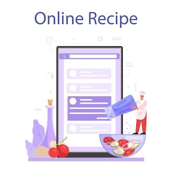 Service ou plateforme en ligne de cuisinier ou de spécialiste culinaire. chef en tablier faisant un plat savoureux. travailleur professionnel. recette en ligne. illustration vectorielle isolé