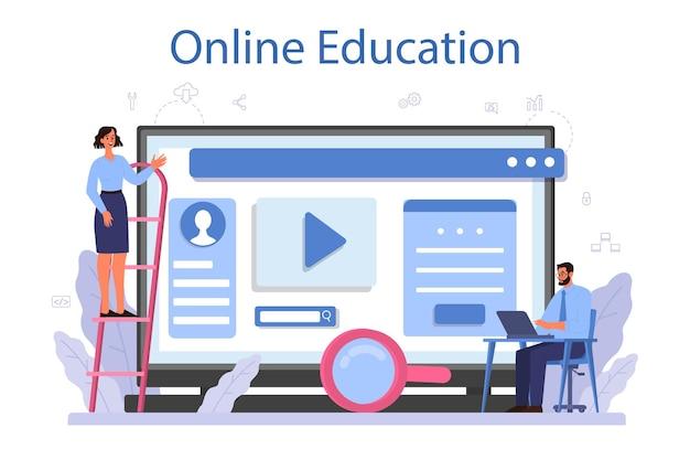 Service ou plateforme en ligne de développeur de logiciels. idée de programmation et de codage, système. développement de logiciels. éducation en ligne. illustration vectorielle isolé