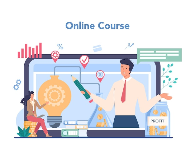 Service ou plateforme en ligne d'entrepreneur. idée de stratégie d'entreprise et de réussite professionnelle.