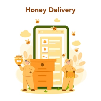Service ou plateforme en ligne d'hiver ou d'apiculteur. agriculteur professionnel avec ruche et miel. livraison de miel en ligne. ouvrier rucher, apiculture et production de miel. illustration vectorielle
