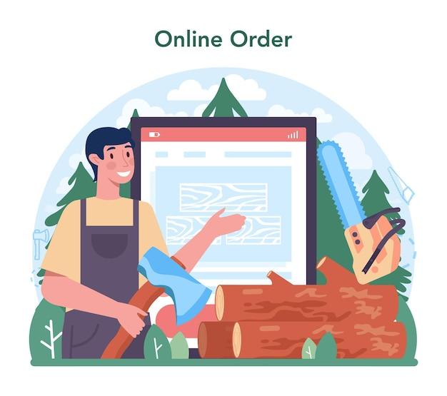 Service ou plateforme en ligne de l'industrie du bois. processus d'exploitation forestière et de travail du bois. norme mondiale de classification de l'industrie. commande en ligne. illustration vectorielle