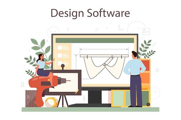 Service ou plateforme en ligne industriel. artiste créant un objet d'environnement moderne. logiciel en ligne.