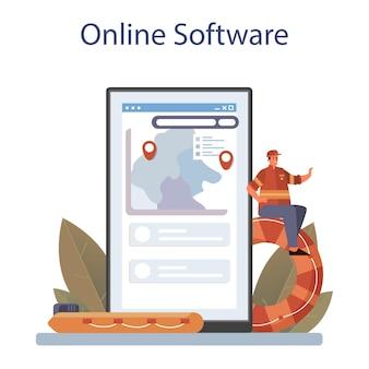 Service ou plateforme en ligne de sauveteur. aide urgente. illustration vectorielle plane