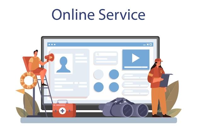 Service ou plateforme en ligne de sauveteur. aide urgente. sauveteur ambulancier
