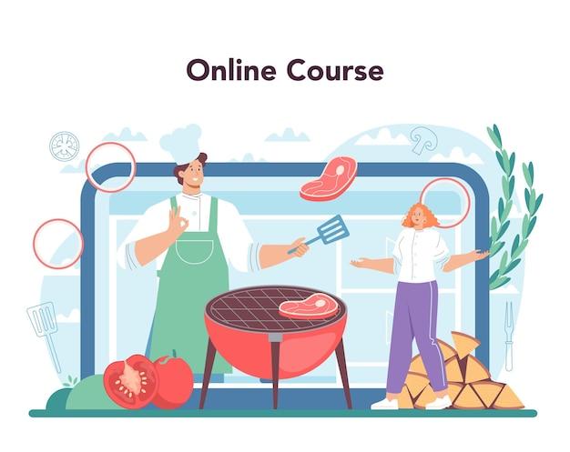 Service ou plateforme en ligne de steak. les gens cuisinent de savoureuses viandes grillées dans l'assiette. délicieux rôti de bœuf au barbecue. cours en ligne. illustration vectorielle plane