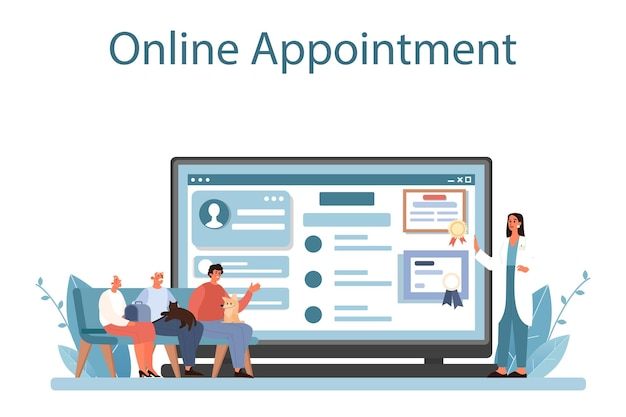 Service ou plateforme en ligne de vétérinaire pour animaux de compagnie. vérification de docteur vétérinaire