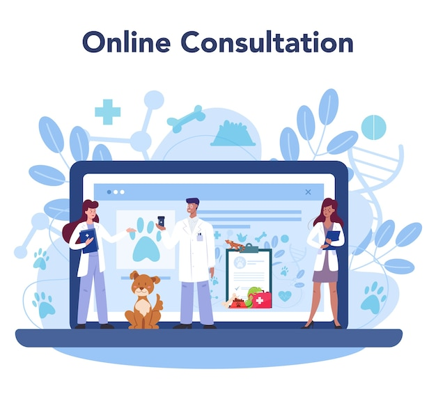Service ou plateforme en ligne de vétérinaire pour animaux de compagnie.