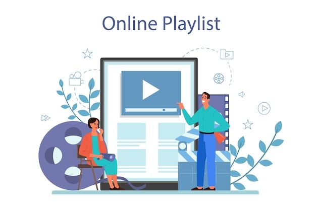 Service ou plateforme de réalisation de films en ligne. idée de personnes créatives