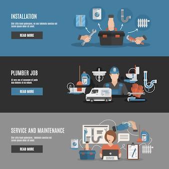 Service de plombier 3 bannières horizontales interactives