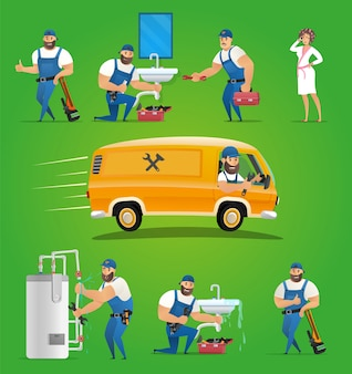 Service de plombier vector illustration concept