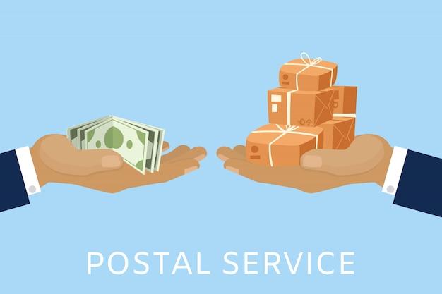 Service de poste et concept de livraison de colis pour de l'argent avec les mains du facteur et payer avec illustration de dessin animé de dollars en espèces.
