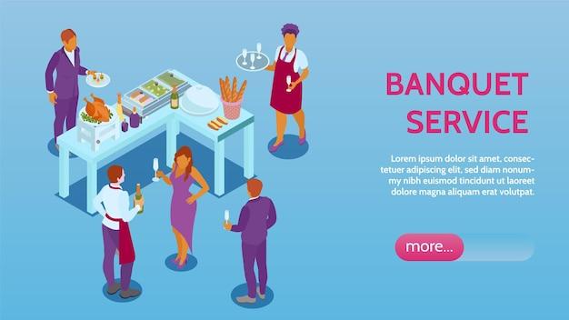 Service de réception de banquet, gestion de la salle de réservation d'événements en ligne, page de site web isométrique avec apéritifs, boissons alimentaires