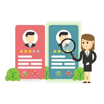 Service de recrutement et d'emploi. choisir un concept candidat.