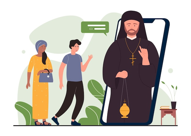 Service de religion d'église pour les gens de prière plate de dessin animé rencontrant le pasteur en ligne
