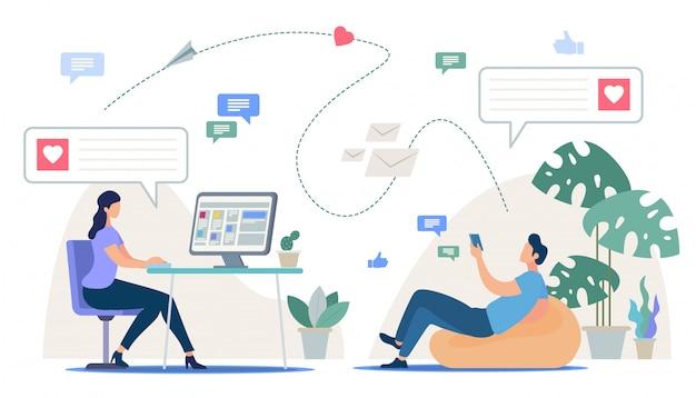 Service de rencontre en ligne, application mobile, relations virtuelles