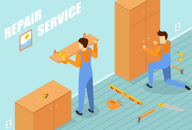 Service de réparation avec illustration isométrique de symboles d'équipement de travail